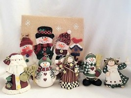 Handcrafted Christmas Ornament Set of 5 in Box Snowman Santa Claus Angel - $12.18