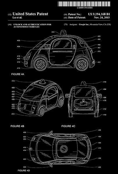 2015 - Google Waymo Self-Driving Car - D. T. Lu - Patent Art Poster - $9.99 - $64.99