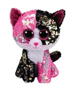 "Ty Boos Black Pink Cat Sequin Colorful Stuffed Animal Plush Children Toy 6"" 15cm - $11.98"