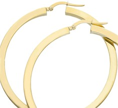 18K YELLOW GOLD CIRCLE EARRINGS DIAMETER 40 MM WITH SQUARE TUBE   MADE IN ITALY image 2