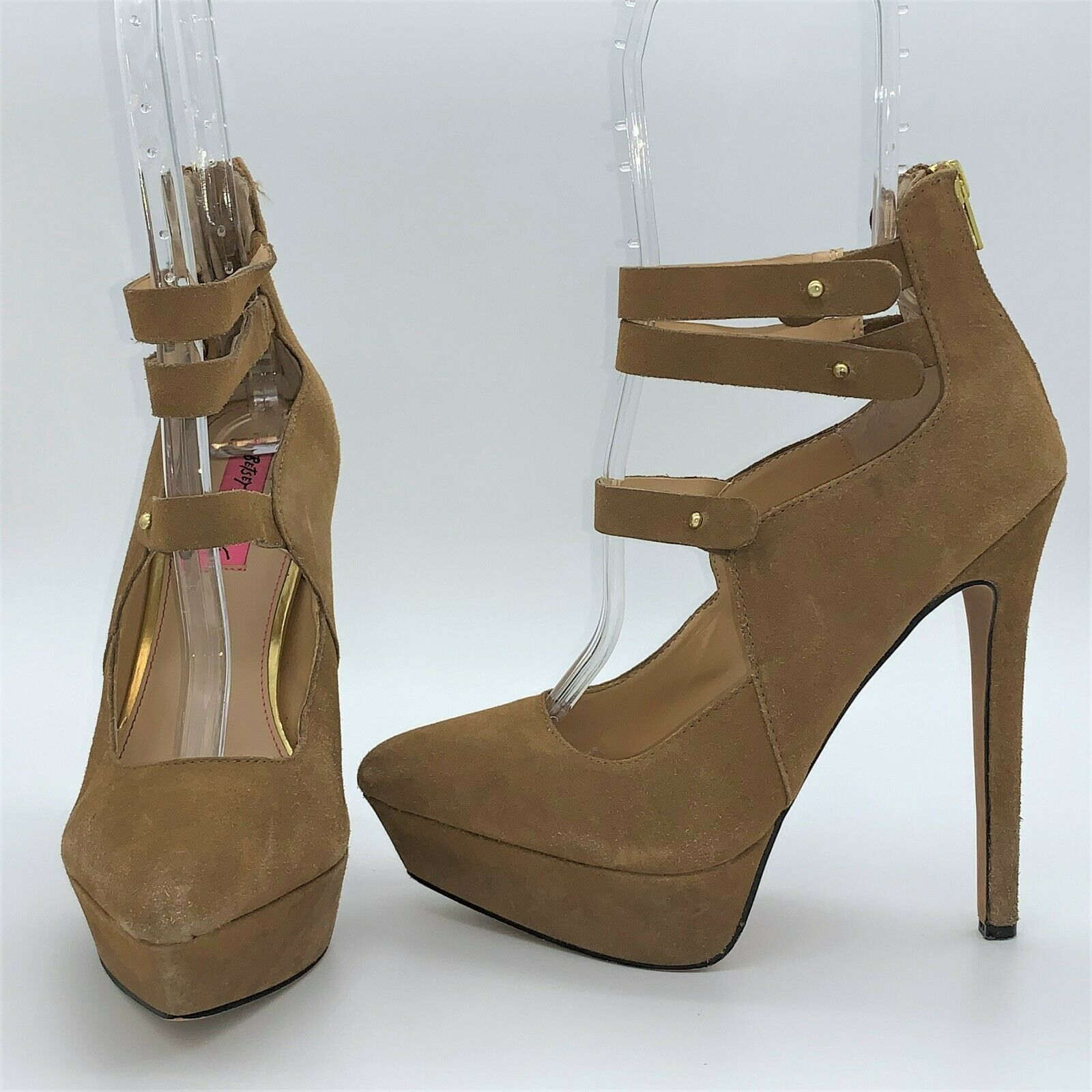 "Betsey Johnson Pennie 5"" High Heel Shoes 7.5B Camel Suede Leather Sexy Stiletto"