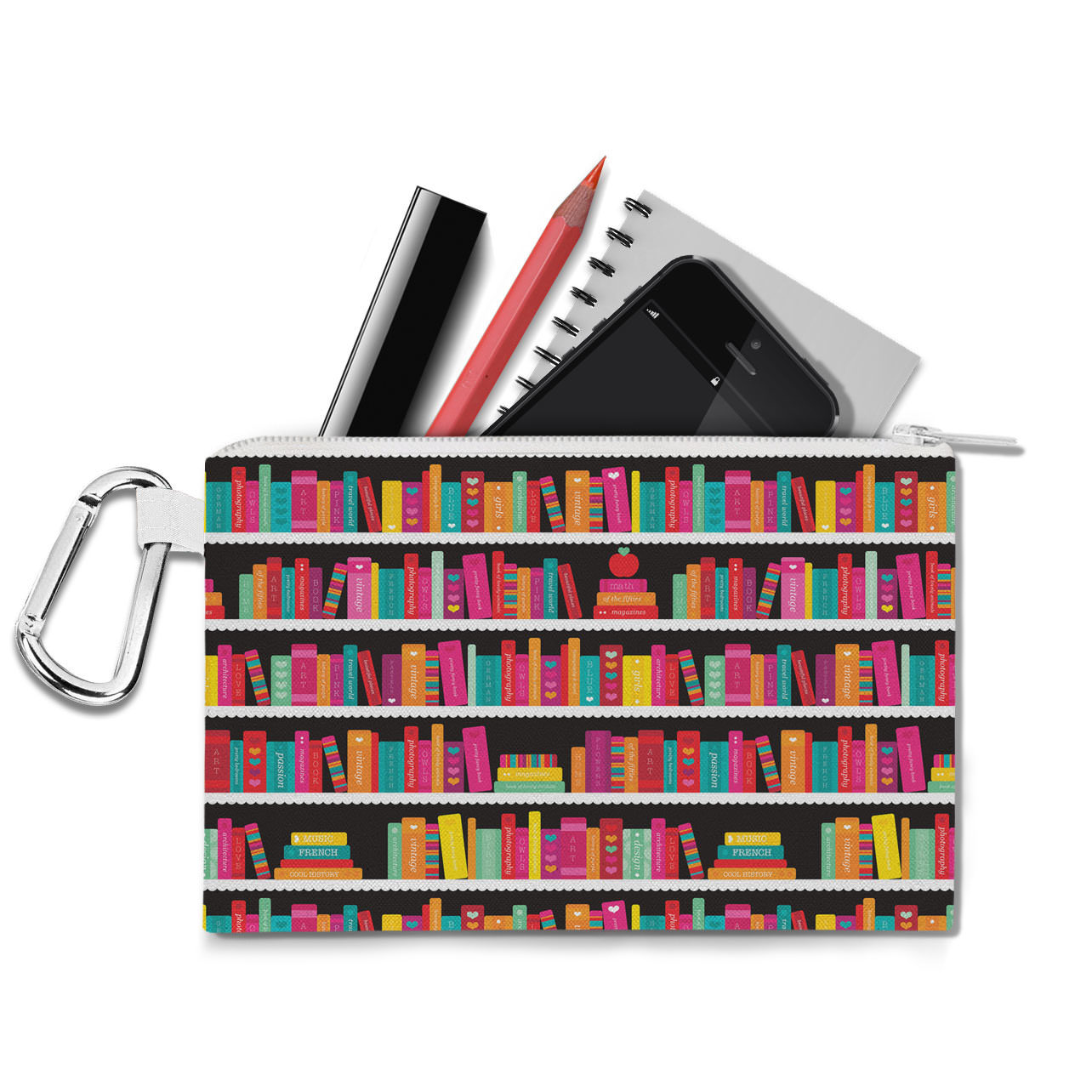 Library Book Case Canvas Zip Pouch