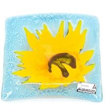 Fused Art Glass Yellow Sunflower Flower Design Square Soap Dish Handmade Ecuador image 2