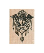 Mounted Rubber Stamp, Goddess, Face Hanging, Statue, Wall Hanging, Angel, Cherub - $7.93
