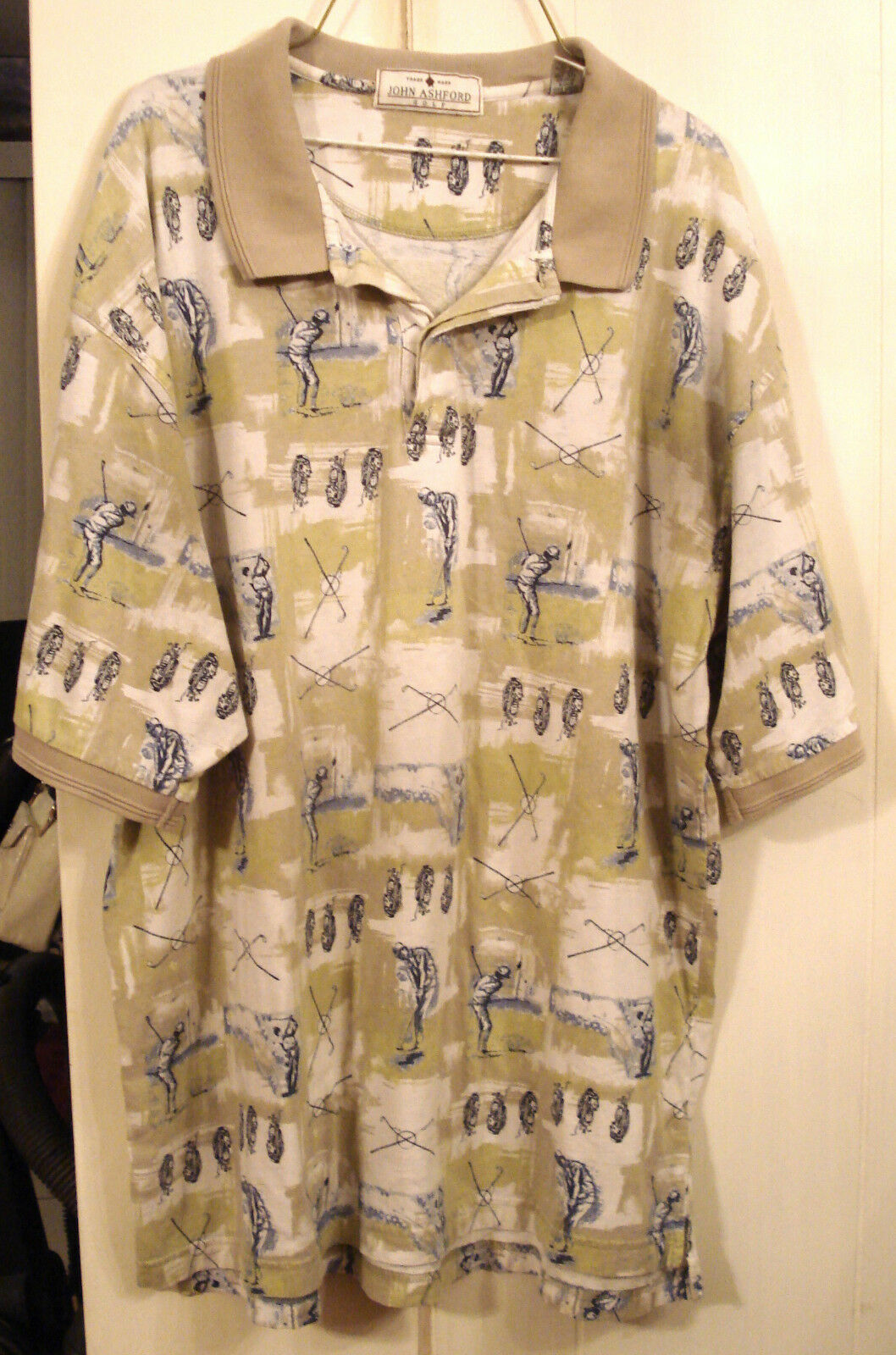Primary image for John Ashford Polo Rugby Shirt XL Beige Blue Print 100% Cotton Casual Golf Style