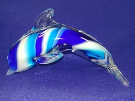 """Art Glass Dolphin Paperweight Blue White Hand Made 6""""  - $49.49"""