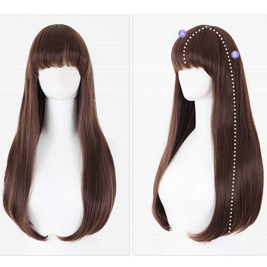 Heat Resistant Hair Wigs Fashion Long Hair Straight with Bangs 26inches - $17.00