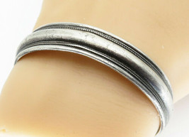 925 Sterling Silver - Vintage Antique Etched Wheat Detail Cuff Bracelet ... - $108.65