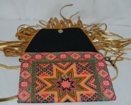 Unbranded Small Geometric Print Purse Gold Colored Fringe image 5