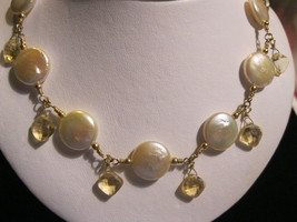 14K Gold Filled Mother of Pearl and Crystals NECKLACE - 17 inches -FREE ... - $65.00