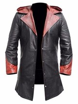 Men Leather Coat Winter Long Leather Coat Genuine Real Leather Trench COAT-UK2 - $269.76