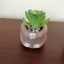 """Sloth Animal Planter with Faux Succulent, Cement Pot and Artificial Plant, 4"""" image 5"""