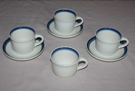 4 Cups and 3 Saucers Pfaltzgraff Northwinds Blue Green Stoneware  - $9.85