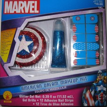 Marvel American Dream Makeup Kit Accessories Hair Comb Nails Glitter Nip Rubie's - $8.90