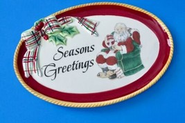Fitz And Floyd Dear Santa Sentiment Tray Small Holiday Plate Seasons Greetings - $17.81