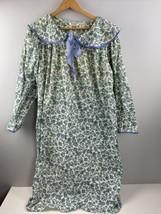 Vtg Victorias Secret Flannel Nightgown M Medium Blue Floral Long Modest - $42.57