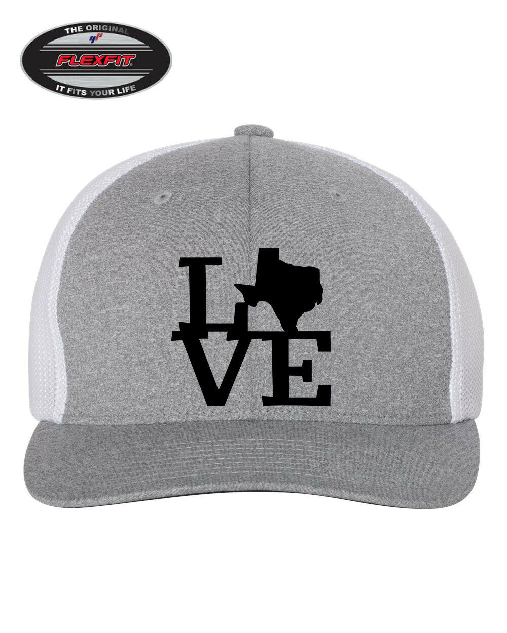 I LOVE TEXAS STATE HOME Trucker Cap FLEXFIT HAT *FREE SHIPPING in BOX*