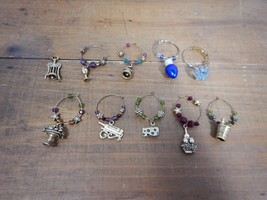 Set of 9 Wine Glass Charms Gold-tone Wine Themed & Holiday - $9.99