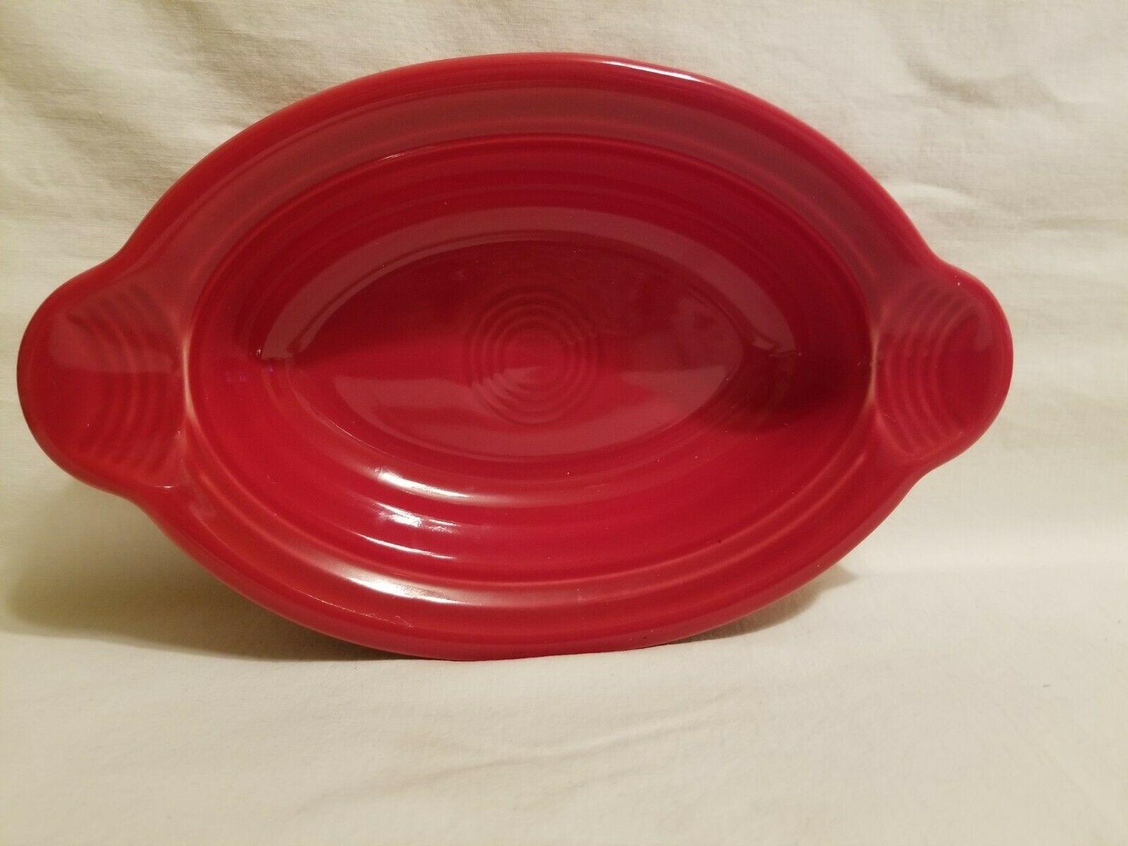 Homer Laughlin Fiesta Ware Individual Casserole Dish Oval  Au Gratin 16 Oz RED - $29.69