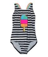 Girls' One Piece Swimsuit Popsicle Stripe - Cat & Jack  Black M - $6.99