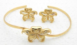 VTG GORHAM VERMEIL Flower Cuff Bracelet Post Earring Set - $99.00