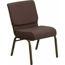 Offex Brown Fabric Stacking Church Chair with 4'' Thick Seat and Gold Ve... - $150.99