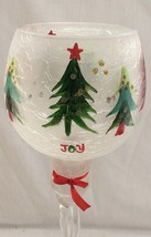 Christmas High Pedestal Votive Candle Holder Hand Painted Glass. - $19.95