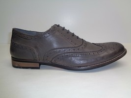 Steve Madden Size 7.5 M GIONNI Grey Leather Lace Wingtip Oxfords New Men... - $98.01