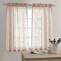 Sheer Curtains Linen Look Voile Curtains for Living Room 63 Inch Long Op... - $16.57