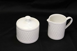 Oneida Wicker Cream and Sugar White - $24.45