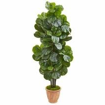 "LuxuryMulticolor 67"" Fiddle Leaf Fig Artificial Tree in Terracotta Planter - 67"" - $324.25"