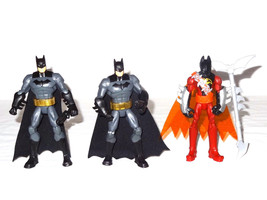"Lot 3 DC Comics Mattel 6"" Batman  Action Figure posable 2x BHD47 1x red ... - $9.47"