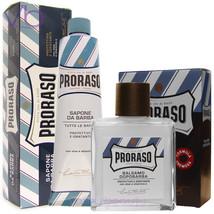 PRORASO Blue Shaving Cream + After Shave Balm - Aloe, Vitamin E, Made In... - $26.50