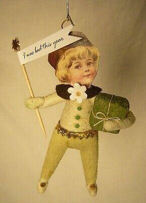 Vintage Inspired Spun Cotton Christmas Boy Ornament #10 Very Cute!5