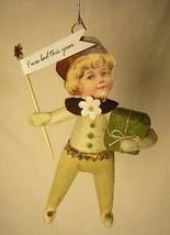 Vintage Inspired Spun Cotton Christmas Boy Ornament #10 Very Cute!5 image 1