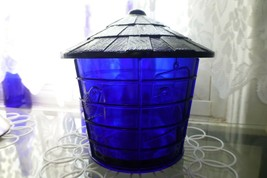 NOS Vintage IMPERIAL COBALT BLUE Glass BIRD CAGE Covered JAR Canister SUMMIT image 2