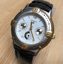 Vintage Fossil Men Lady Moving Bezel Quartz Watch Hours~Day Date 24h~New... - ₹1,797.41 INR