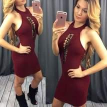 Claret Backless Halterneck Bodycon Dress For Women - $22.00