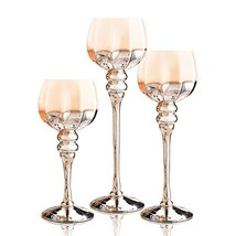 Long Stem Glass Candle Holders, Set of 3 Brown Gold Hexagon Hurricanes for Teali