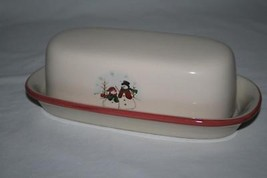 Royal Seasons Stoneware Snowman Red Border Covered Butter Dish - $16.00