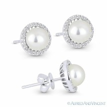 Freshwater Pearl & 0.16ct Round Diamond Stud Earrings 14k White Gold Hal... - $326.69