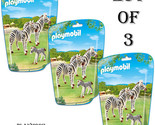 Lot of (3) - New! PLAYMOBIL 6641 Zebra Family Building Kit Ages 4-10