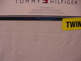 Tommy Hilfiger Ithaca Stripe Gray and White Sheet Set Twin - $36.00