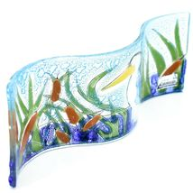 Fused Art Glass Blue Heron Cattails Lake Wavy Decor Piece Handmade in Ecuador image 3