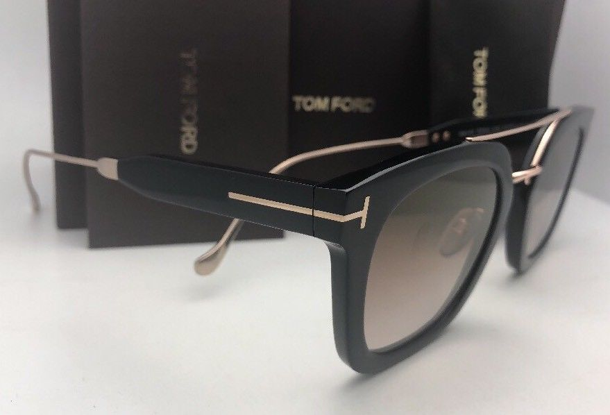 New TOM FORD Sunglasses ALEX-02 TF 541 01F 51-25 145 Black & Gold w/Brown+Mirror image 4