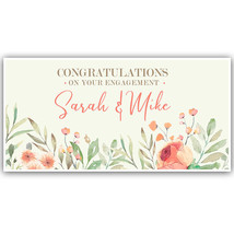 Floral Congratulations Engagement Party Custom Banner - $23.64+