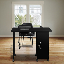 Manicure Nail Table Station Steel Frame Beauty Salon Equipment Drawer Black - $211.39