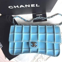 CHANEL Chain Shoulder Bag Light Blue Woman Luxury 2002 Limited Auth Mint... - $3,353.10