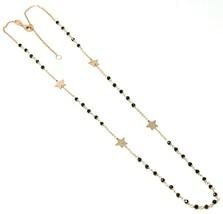 18K ROSE GOLD NECKLACE, FACETED BLACK SPINEL, FLAT STARS, ROLO CHAIN ALTERNATE image 1
