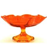 Vintage Blood Orange Red Gold Fluted Glass Candy Dish Large - $49.49